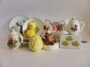11-Mixed-China-amp-Porcelain-Pieces-Vintage-China-Lot-Vase-Creamer-and-Pin-Dish
