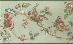Wallpaper-Border-Monkeys-in-Tree-Green-Red-Blue-Tan-Brown-on-Green