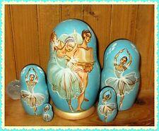 Russian small BLUE matryoshka nesting doll 5 BALLET ballerina Artist signed