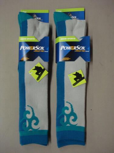 NWT Womens PowerSox Snowboarding Long Top Socks Size Medium 2 Pair #386
