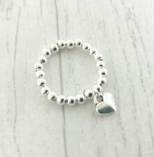 Silver Ball Beaded Stretch Ring Dangle Wing Charm Toe Thumb Elastic Bijoux