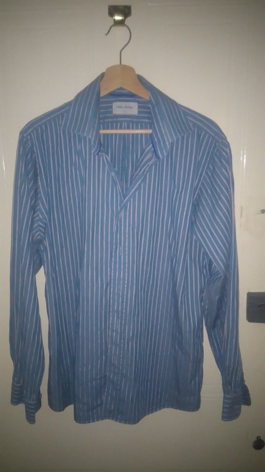 de187e12 Oiler and Boiler mens bluee with red pinstripe long sleeves large 46 inch  chest. '