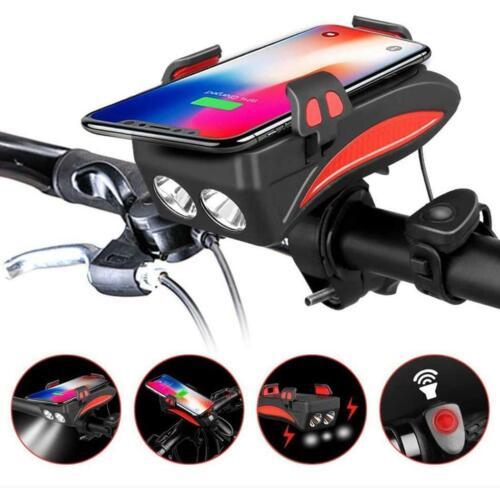 NEU 4 in 1 Fahrradlicht Fahrradhupe Handyhalterung Powerbank 4 farbe