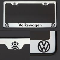 Chrome T304 License Plate Frame Volkswagen Vw Black Letter Laser Etched Engraved