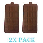 Set x 2 Silicone Mold Thin Mini Waffle candy Chocolate Rectangle Topping Fondant