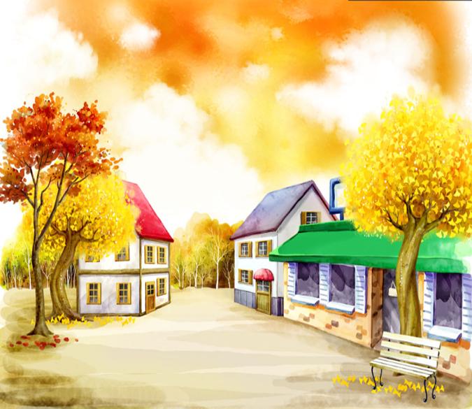 3D Aquarell Haus Bäume 84 Tapete Wandgemälde Tapete Tapeten Bild Familie DE | Qualität und Verbraucher an erster Stelle  | Haltbar  | Toy Story