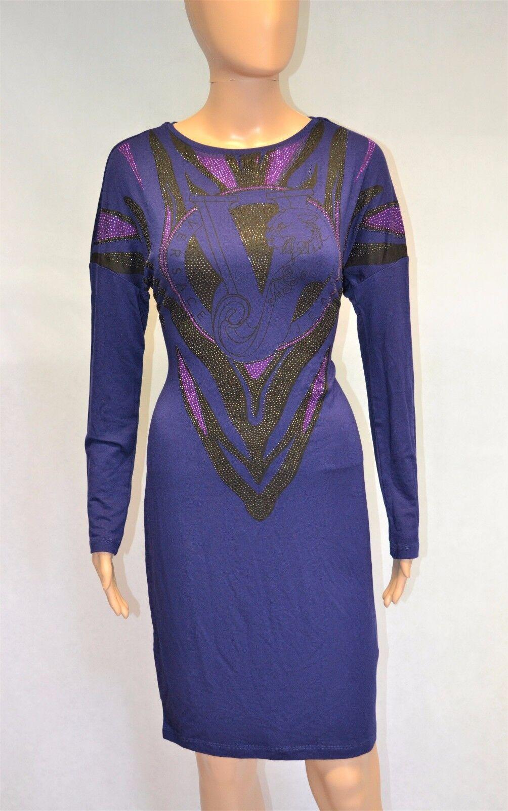 BNWT VERSACE JEANS NAVY Blau lila STUDDED RHINESTONE STRETCH DRESS VJ TIGER