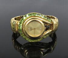 Rare Paolo Gucci 12.5ct Peridot Gemstone & Diamond 18K Yellow Gold Lady's Watch