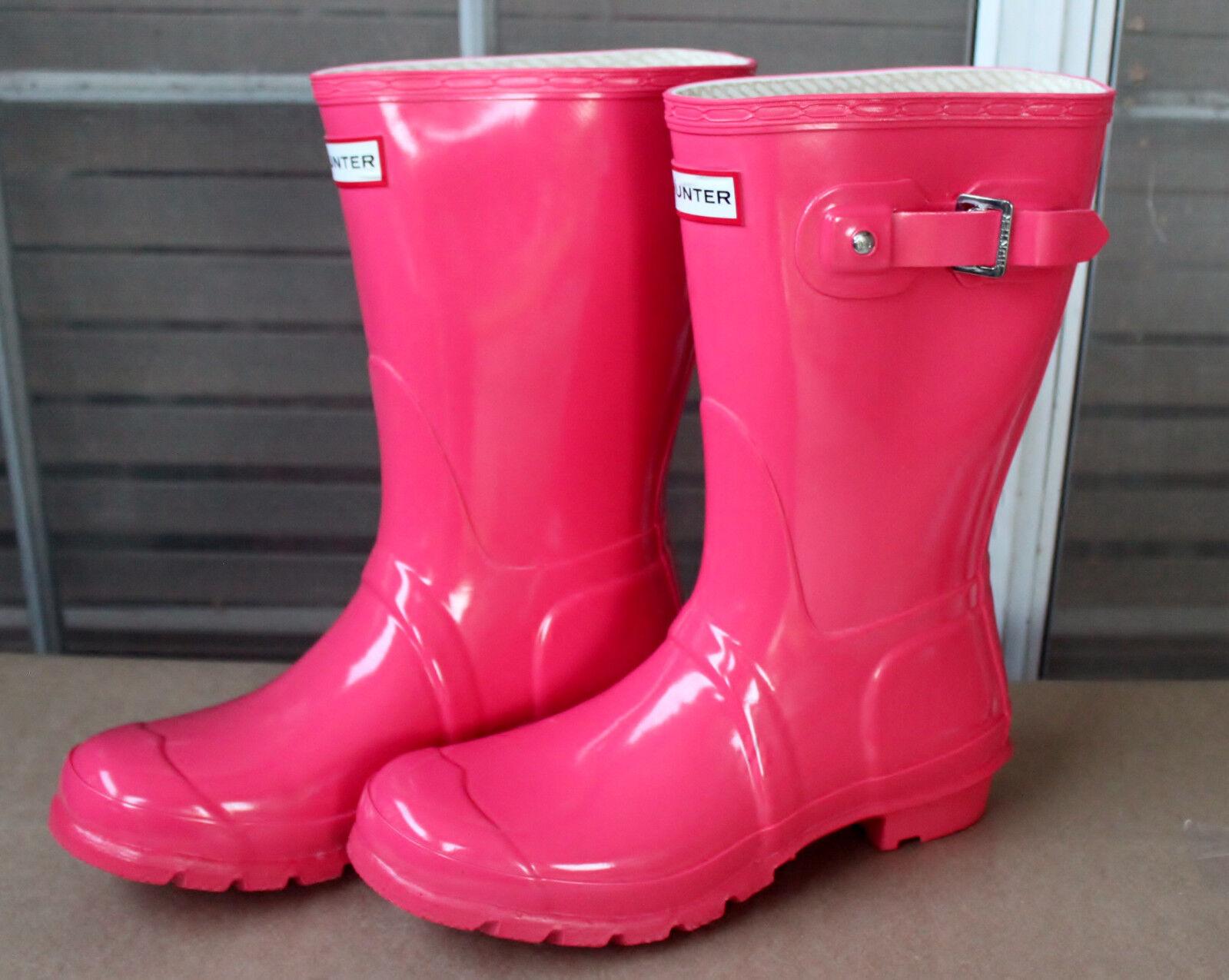 Rare Retired Gorgeous Hunter Original Short Gloss Classic Pink Rubber Rain Boots