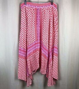 New-Directions-Pink-Orange-White-Asymmetrical-Boho-Floral-Skirt-Large