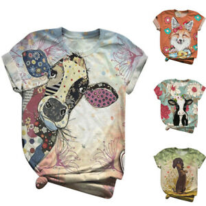 Plus-Size-Womens-Short-Sleeve-3D-Animal-Printed-O-Neck-Tops-Tee-T-Shirt-Blouses