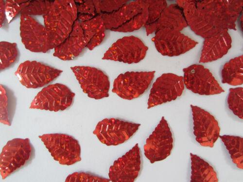 50 Applikation Aufnäher Rot Pailletten elegante Muster Borte Nähen 2,5x1,4cm
