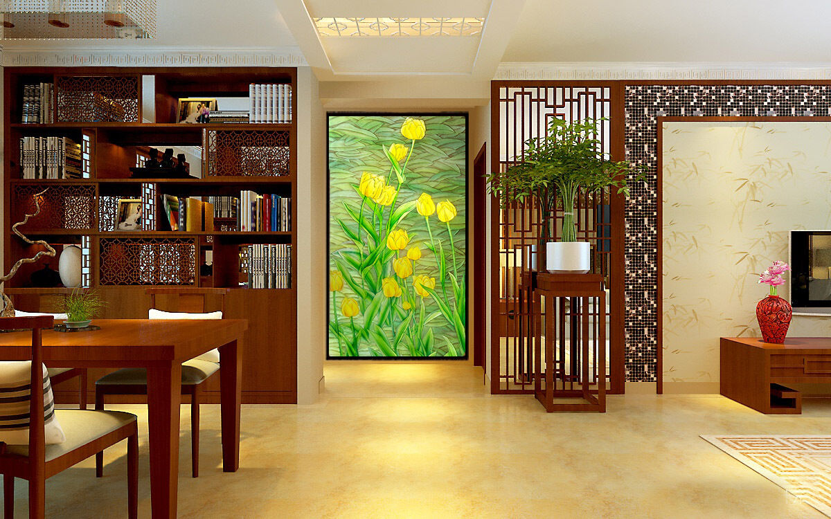 3D Grün Leave Gelb Flower Paper Wall Print Wall Decal Wall Deco Indoor Murals