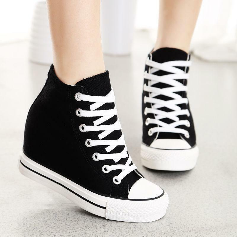 Damenschuhe Canvas Hidden Wedge High-Top Lace Up Sneakers Schuhes NEU Fashion Größe US