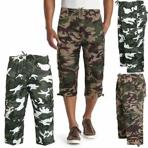 MENS ZIP OFF 3 IN 1 TROUSER SHORTS CAMO CARGO COMBAT ARMY SUMMER WORK WEAR NEW