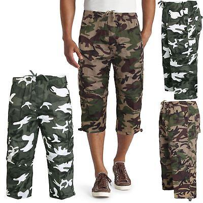 Mens 3//4 Shorts Zip Camo Joggers Skinny Camouflage Knee Length Shorts Gym Bottom