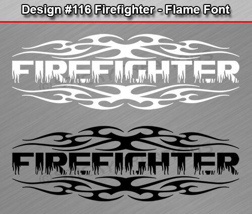 Design #116 FIREFIGHTER Tribal Flame Window Decal Sticker Vinyl Graphic Truck