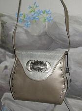 New DONALD PLINER Pewter Leather Sun&Moon Convertible Crossbody Belt Bag Clutch
