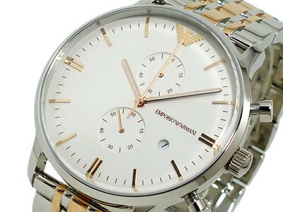 BRAND NEW EMPORIO ARMANI TWO TONE CHRONOGRAPH STAINLESS STEEL MEN WATCH AR0399