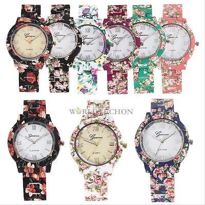 Ceramic Style Women's Fashion Geneva Flower Print Sports Quartz Wrist Watch