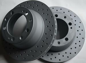 Fits-912-924-944-Cross-Drilled-Brake-Rotors-Made-In-Germany-Rear