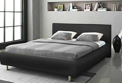 Modern Double Bed King Size Black White Faux Leather with Headboard and Mattress