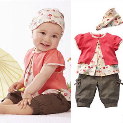 Girls Baby 3pcs Outfit Set Toddler Short Top+Pants+Headband Shirt Clothing 0-24M