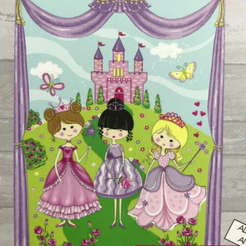 "Fabric Panel 3 Pretty Little Princesses and Castle 36/"" x 45/"" 100/% Cotton"
