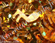100 bijoux décoration d'ongle Nail Art Paillettes NOTE DE MUSIQUE Or Doré HOLO