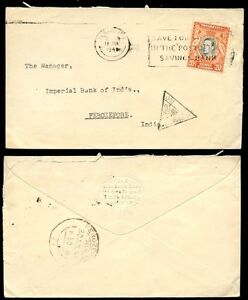 KUT 1941 to INDIA CENSORED TRIANGLE..FEROZEPORE...BANK SOUTH AFRICA EMBOSSED ENV