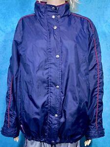Lauren Ralph Lauren Women's Windbreaker Jacket Windshirt 1x Bleu Marine Avec Bord Rouge-afficher Le Titre D'origine