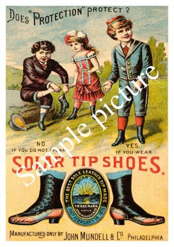 Solar tip shoes 2 Reproduction poster,Wall art. Vintage  Shoe advert