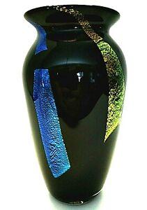 "Black Vase Foiled Ribbons Cased Glass Hand Blown Artist Signed 7.75"" Tall"