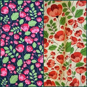 Poppy fabric UK 100/% cotton material metres floral flowers bright popular print