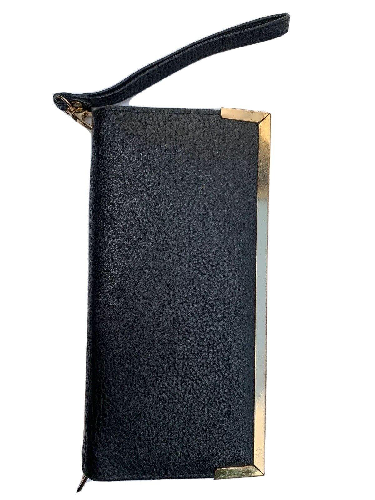 "Leather Black Gold Wallet Credit Card Pockets Inn Zip 8.5'x4.2"" Lovebly"