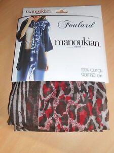 foulard coton MANOUKIAN léopard zèbre marron rouge 90 x 180 cm ... 698c117f6ac