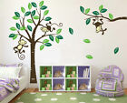 Monkey on large Tree Wall Art Stickers Kids Nursery Vinyl Decal removable Decor