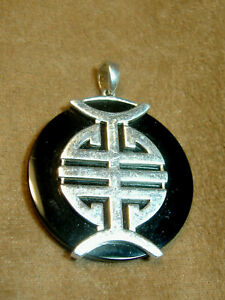 VINTAGE-ONYX-AND-STERLING-SILVER-PENDANT-OVER-1-1-2-034-LONG