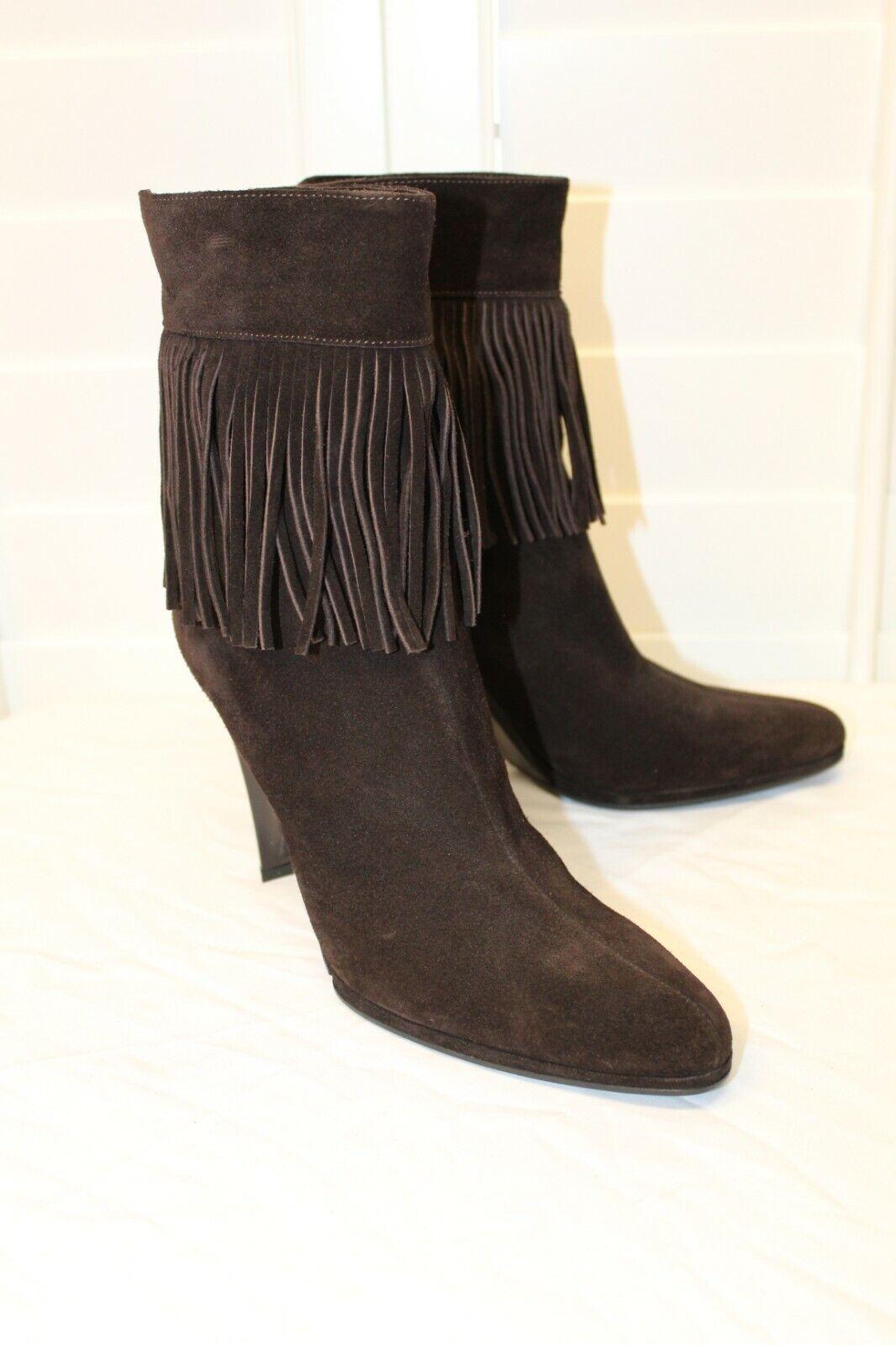 miglior prezzo migliore NEW HELMUT LANG Marrone Fringe Cuffs Wedge stivali Back Back Back Zip scarpe 38 8 7.5 M  negozio all'ingrosso