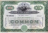 Food Fair Stores Stock Certificate Grocery Green Pennsylvania