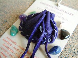 INSOMNIA NIGHTMARE CRYSTAL MEDICINE BAG Pocket Size Deer Pouch Reiki Gemstones