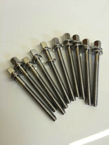 Chrome tension rods 42mm trods Tom//Snare drums T-Rods 10 pack