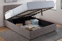 Bed Frame Full Size Headboard Platform Lift Up Under Storage Upholstered Gray