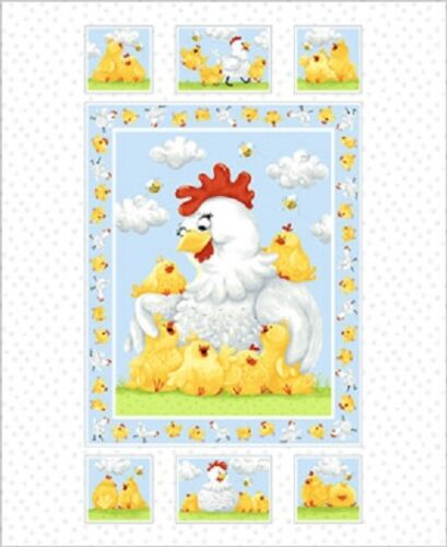 Pippa Chicken by SusyBee Cotton Quilt fabric BTP Panel 44x36