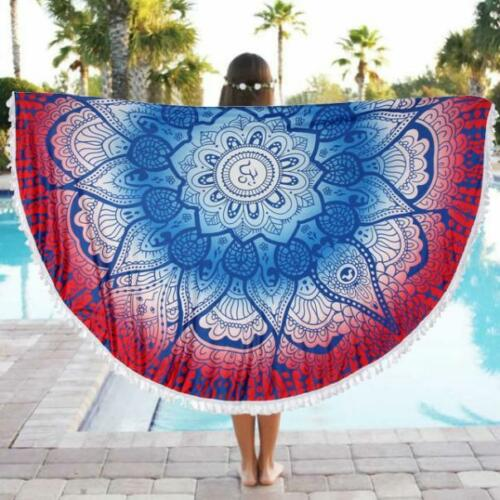 Bohemian Mandala Round Beach Tapestry Hippie Throw Yoga Mat Towel Indian Round