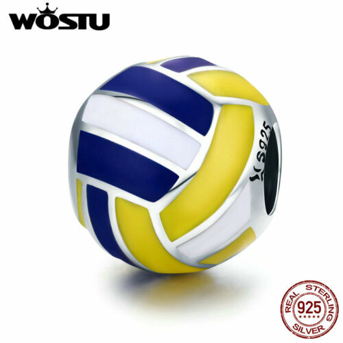 Wostu 925 Sterling Silver Enamel Volleyball Charms Fit European Charm Bracelet