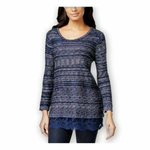 Style & Co. Lace-Hem Marled Sweater Industrial bluee (L) and (M)