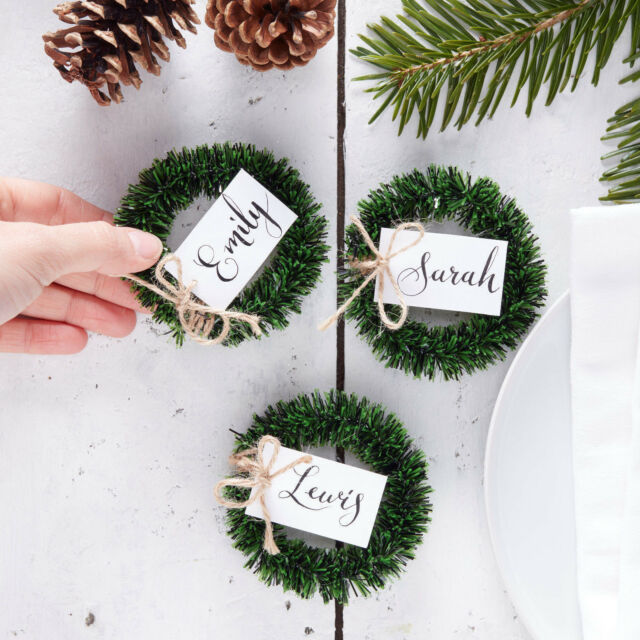 4 Mini Wreath Place Name Card Holders Rustic Vintage Christmas Table