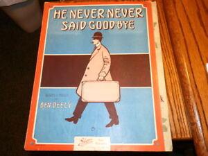 #3180, Gene Buck Couverture, Il N'a Jamais Dit Au Revoir, 1911, Rarement Vu, Vintagesheet Music-eet Music Fr-fr Afficher Le Titre D'origine Limpide à Vue