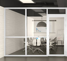 Cgp Office Partition System Glass Aluminum Wall 10 X 9 Withdoor White Semi